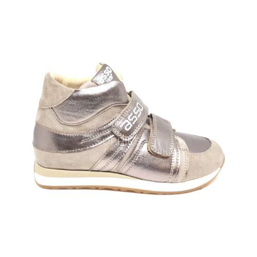 Asso, bronz színű fényes sportos cipő lányoknak