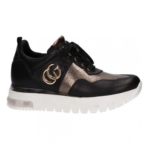 Fekete arany Karino cipő vastag, kényelmes talppal