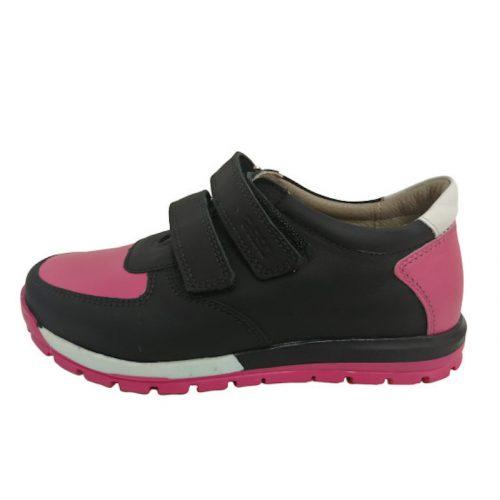 Asso fekete/pink tépőzáras nagylány cipő